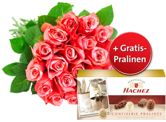 Rote Rosen und gratis Pralinen
