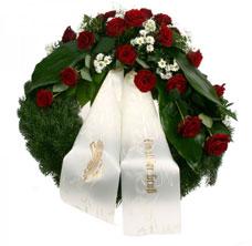 Trauerkranz aus roten Rose